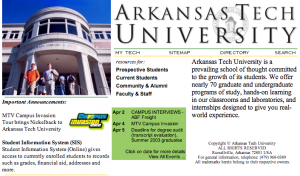 Screenshot of atu.edu homepage from 2001